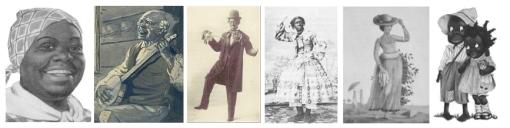 Représentation des personnages récurrents des minstrel shows