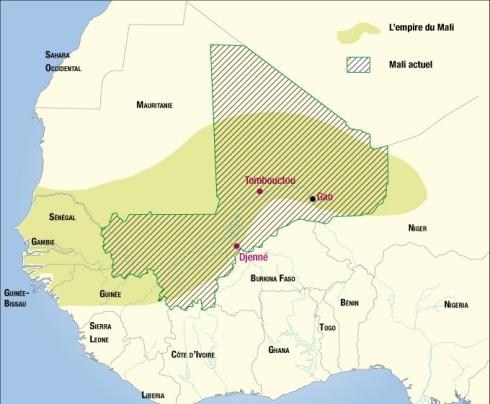 Carte montrant le Mali actuel et l'Empire du Mali