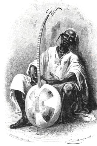 Gravure par Mage représentant un griot malinké