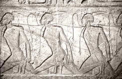 Représentation d'esclaves, prisoniers nubiens